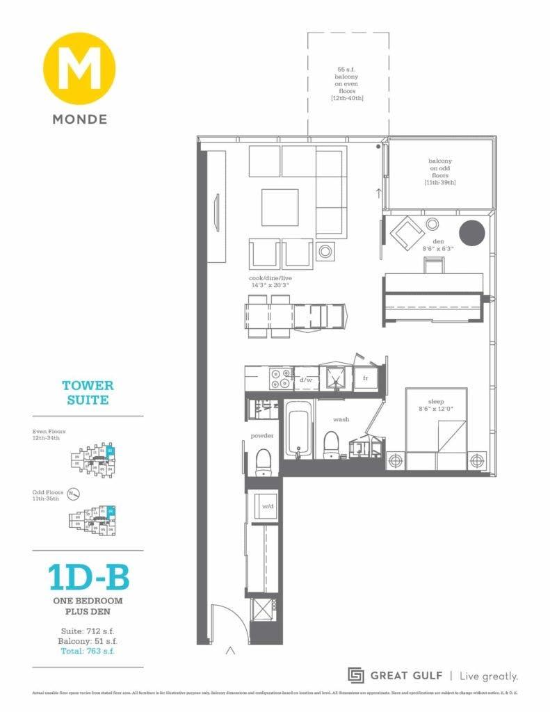 16 Bonnycastle Monde floor plan 1D-B