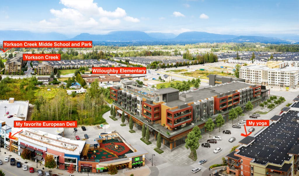 Willoughby condos for sale - Aerial shot of Residences building